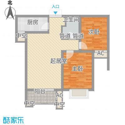 众美凤凰绿都88.46㎡2号地块3号楼两居户型2室2厅1卫1厨