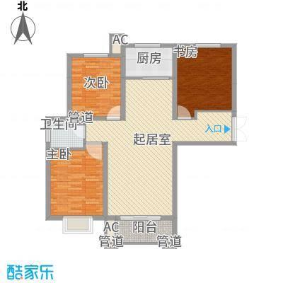 众美凤凰绿都115.76㎡2号地块3号楼三居户型3室2厅1卫1厨