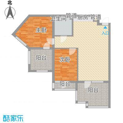 恒泰时间海8.00㎡5、6号楼A正面户型2室1厅1卫1厨