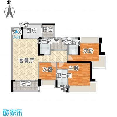 中澳滨河湾137.23㎡71栋04户型3室2厅3卫1厨