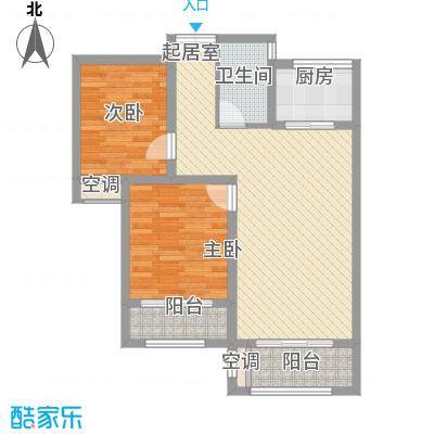 紫御城8.86㎡H户型2室2厅1卫1厨