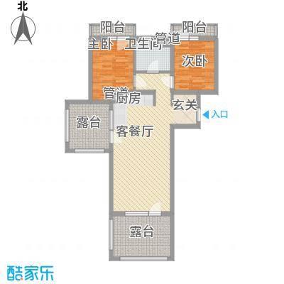 恒泰时间海8.00㎡2、3号-H户型2室1厅1卫1厨