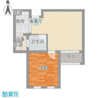 金色年华C5户型1室2厅1卫1厨