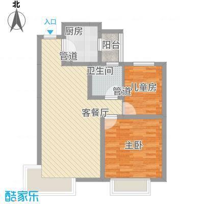 富立秦皇半岛86.28㎡18号楼C4户型2室2厅1卫1厨