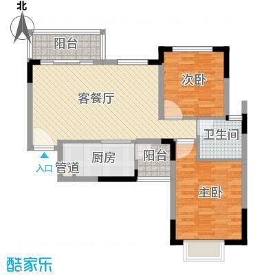 恒大泉都85.31㎡1#4号楼标准层02户型2室2厅1卫1厨