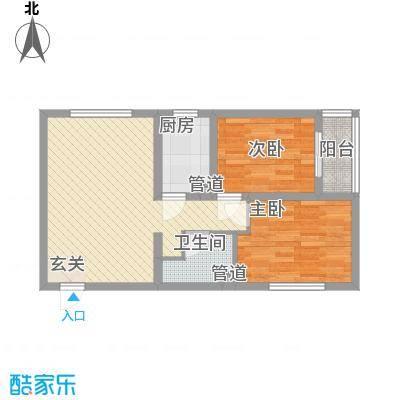 燕大星苑红树湾76.00㎡B1户型2室2厅1卫1厨