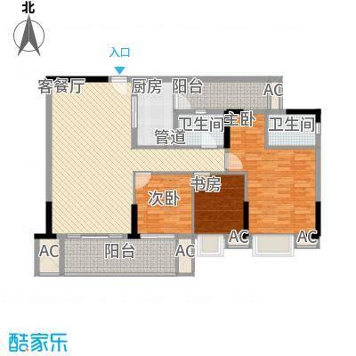 龙津世家13.00㎡B栋-01户型3室2厅2卫1厨