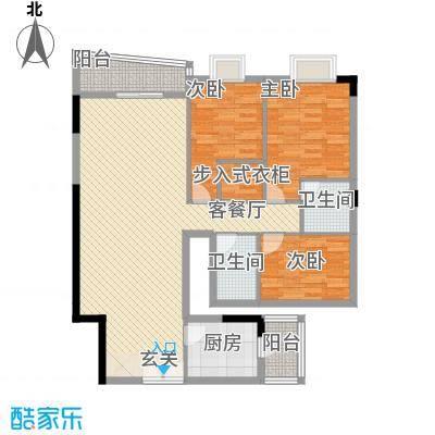 银城花园13.34㎡7栋02户型3室2厅2卫1厨