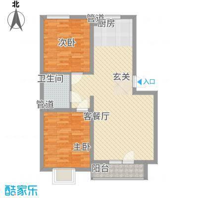 现代华城8.55㎡F户型2室2厅1卫1厨