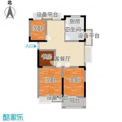金都华府115.50㎡一期5-10号楼标准层G户型4室2厅1卫1厨