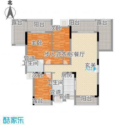 金阳新世界花园123.30㎡B栋B1花园平墅户型3室2厅2卫1厨