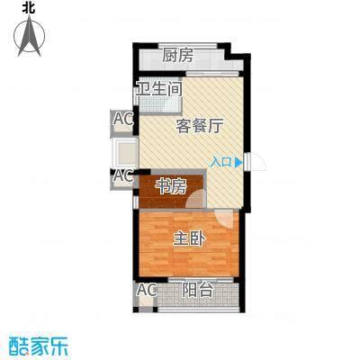 博奥东苑66.57㎡一期2号、3号楼标准层C-6户型2室1厅1卫1厨