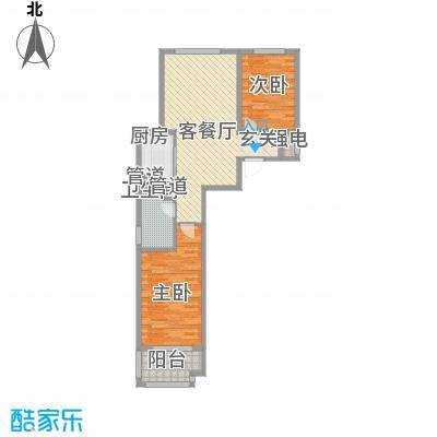 9�院2.60㎡院12号楼C-1户型2室2厅1卫1厨