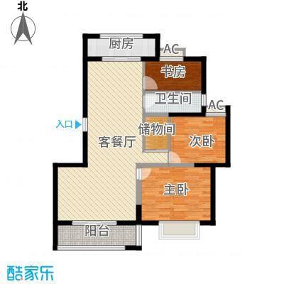博奥东苑112.26㎡一期2号、3号楼标准层B-5户型3室2厅1卫1厨