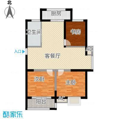 博奥东苑114.78㎡一期2号、3号楼标准层B-1户型3室2厅1卫1厨