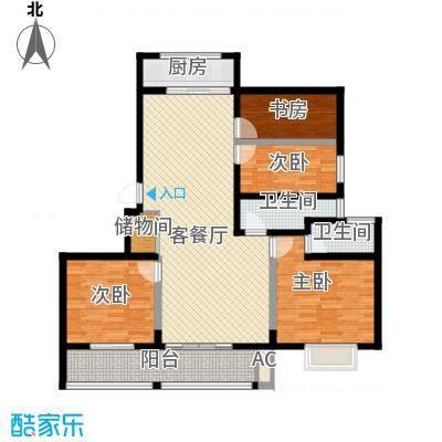 博奥东苑142.50㎡一期2号、3号楼标准层B-3户型4室2厅2卫1厨
