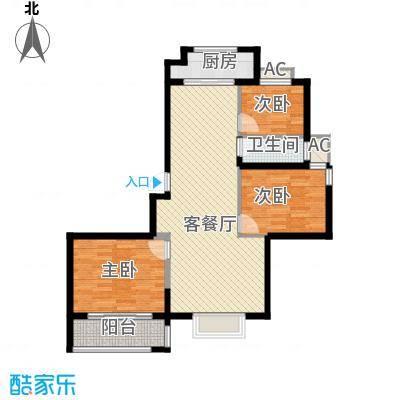 博奥东苑15.20㎡一期2号、3号楼标准层C-3户型3室2厅1卫1厨