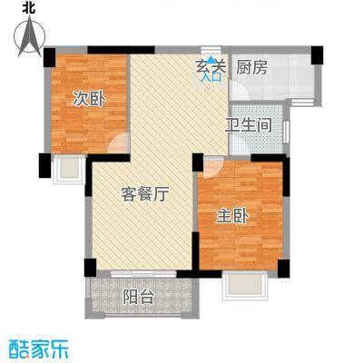 杏北新城锦园居住区83.47㎡B型户型2室1厅1卫1厨