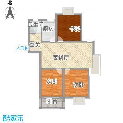 华兴・水岸华庭114.80㎡一期7-11#13#标准层C户型3室2厅1卫1厨