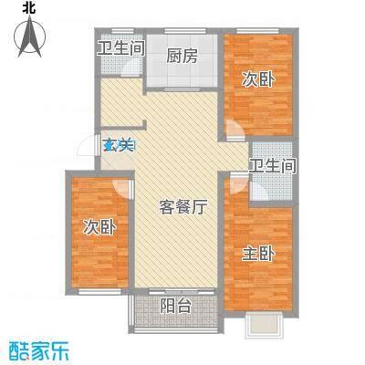 紫金园翡翠花园124.00㎡一期9#楼多层E户型3室2厅1卫1厨