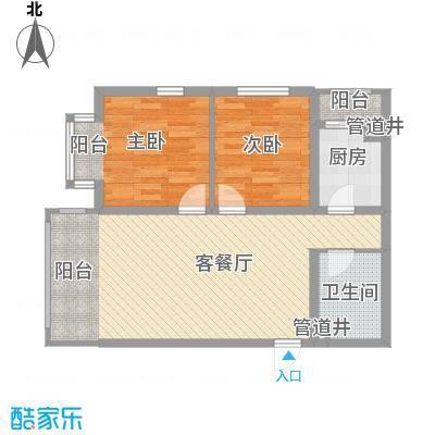 松浦观江国际78.60㎡P户型2室2厅1卫1厨
