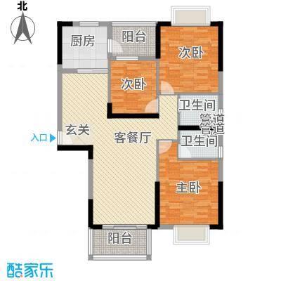 金沙・山海名门123.00㎡7栋02户型3室2厅2卫1厨
