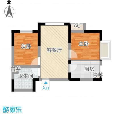金辉・天鹅湾56.22㎡J户型2室2厅1卫1厨