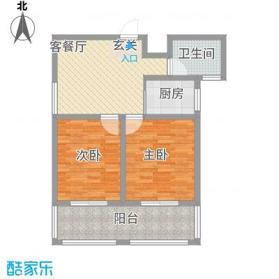 东方京都86.24㎡一期1-4#标准层A户型2室1厅1卫1厨