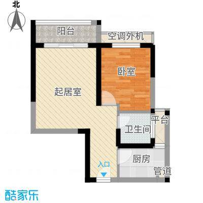 五洲国际广场56.00㎡10#标准层H6户型1室2厅1卫1厨
