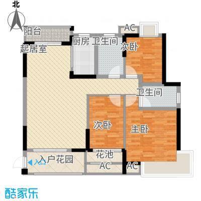 龙湾新城115.16㎡E1/E2栋3-23层02户型3室2厅2卫1厨