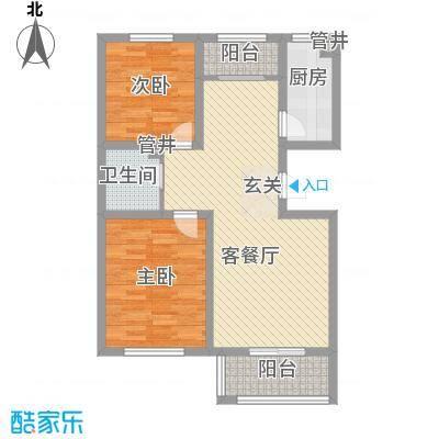 左岸香颂2.14㎡F户型2室2厅1卫1厨