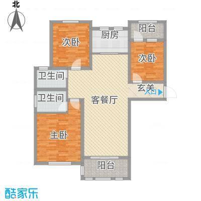 德仁・翡翠城13.30㎡B1户型3室2厅2卫1厨