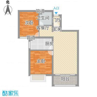 龙堂新苑84.20㎡14#-2居户型2室2厅1卫