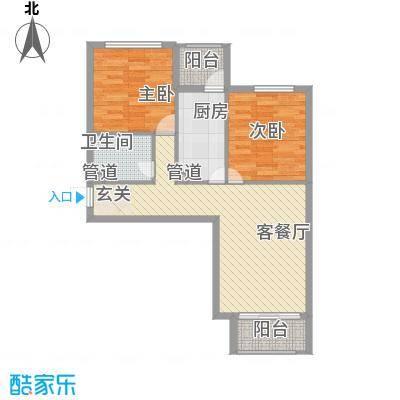 龙堂新苑86.36㎡14#C户型2室2厅1卫