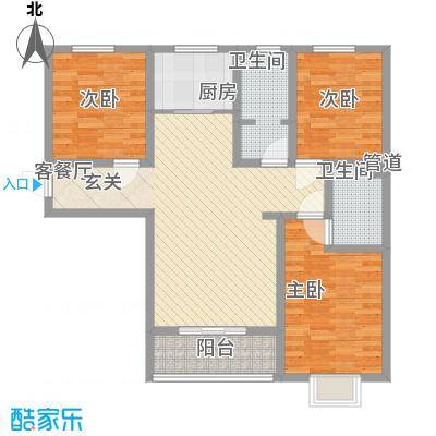 高新香江岸12.21㎡8#F户型3室2厅2卫1厨