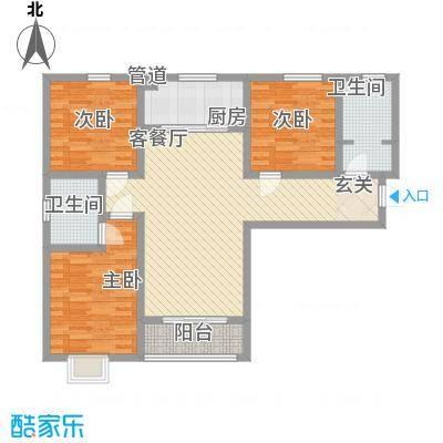 高新香江岸116.75㎡7#A户型3室2厅2卫1厨
