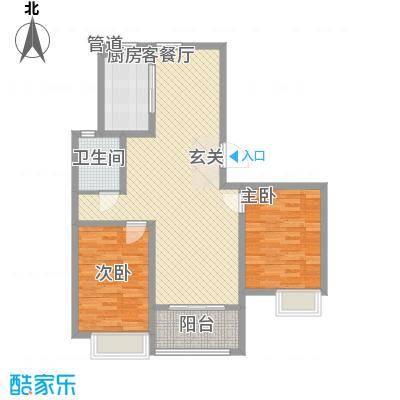 东城尚品18.80㎡一期3#标准层C5户型2室2厅1卫1厨