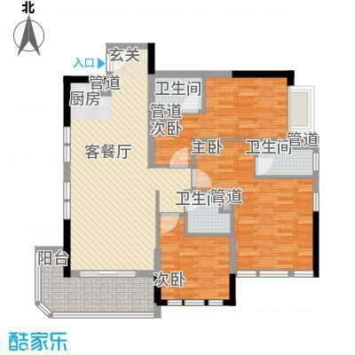 碧桂园金海湾11.18㎡J535-A户型3室2厅3卫1厨