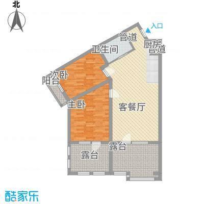 恒泰时间海17.00㎡2、3号楼A正面户型2室1厅1卫1厨