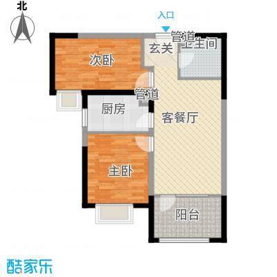 中铁秦皇半岛85.76㎡23栋户型2室2厅1卫1厨