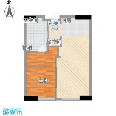 星光域86.64㎡3号楼A-1户型1室2厅1卫1厨