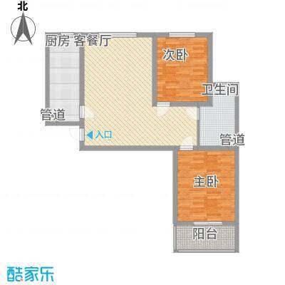 良兴美嘉城6.20㎡标准层I户型2室2厅1卫1厨