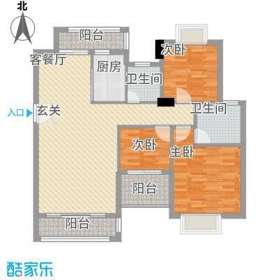 万豪天悦广场121.00㎡B2户型3室2厅2卫1厨