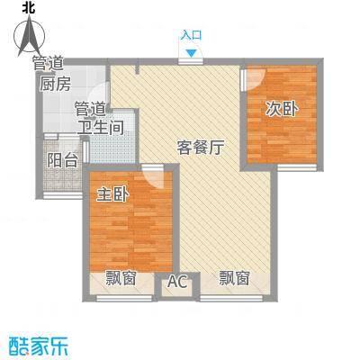 首尔甜城88.00㎡一期B25户型2室2厅1卫1厨