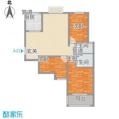 教授花园二期123.66㎡F户型3室2厅2卫1厨