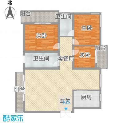 听涛花园171.66㎡C户型3室2厅2卫1厨