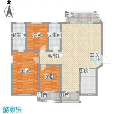 听涛花园171.66㎡D户型3室2厅2卫1厨