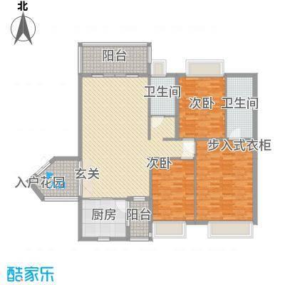 锦江国际新城134.00㎡15/16栋08单位户型3室2厅2卫1厨