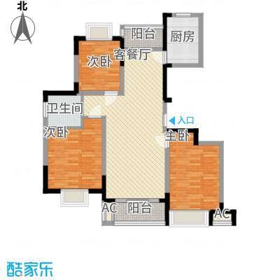 富建洲际逸品11.00㎡一期3#标准层E1户型3室2厅1卫1厨
