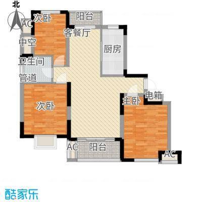 富建洲际逸品117.00㎡一期5#标准层A1户型3室2厅1卫1厨